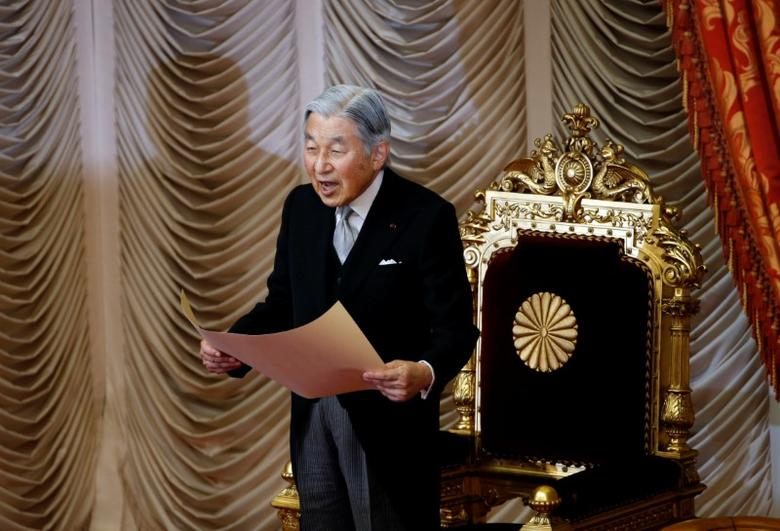 Japan's Emperor Akihito declares the start of the new parliament session at the Upper House in Tokyo, Japan, September 26, 2016. REUTERS/Kim Kyung-Hoon