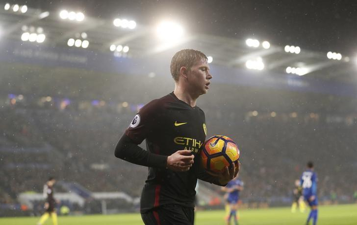 Football Soccer Britain - Leicester City v Manchester City - Premier League - King Power Stadium - 10/12/16 Manchester City's Kevin De Bruyne during the match Action Images via Reuters / Carl Recine Livepic