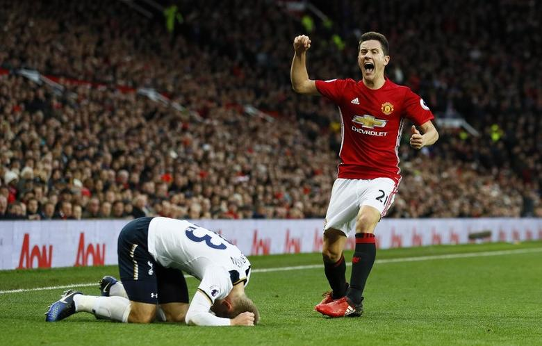 Manchester United's Ander Herrera reacts after fouling Tottenham's Christian Eriksen. Manchester United v Tottenham Hotspur - Premier League - Old Trafford - 11/12/16.   Action Images via Reuters / Jason Cairnduff Livepic