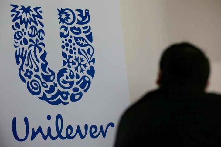 The logo of the Unilever group is seen at the Miko factory in Saint-Dizier, France, May 4, 2016. REUTERS/Philippe Wojazer/File Photo