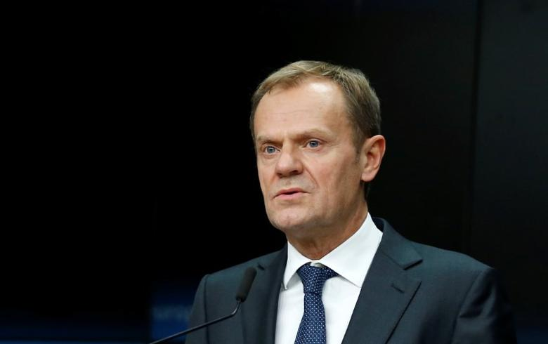 European Council President Donald Tusk addresses a news conference during a European Union leaders summit in Brussels, Belgium, December 15, 2016. REUTERS/Francois Lenoir