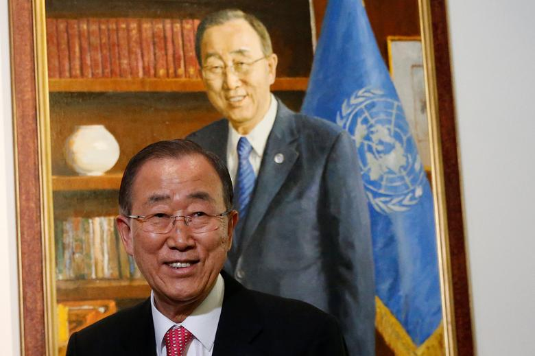 Outgoing United Nations Secretary General Ban Ki-moon reacts during the unveiling ceremony of his official portrait at United Nations headquarters in New York City, U.S., December 14, 2016.  REUTERS/Brendan McDermid