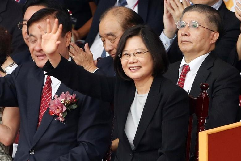 President Tsai Ing-wen waves during National Day celebrations in Taipei, Taiwan, October 10, 2016. REUTERS/Tyrone Siu