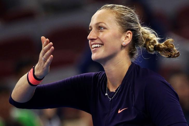 Tennis - China Open Women's Singles Third Round - Beijing, China - 05/10/16. Petra Kvitova of Czech Republic blows kisses after winning the match against Garbine Muguruza Blanco of Spain. REUTERS/Damir Sagolj/Files