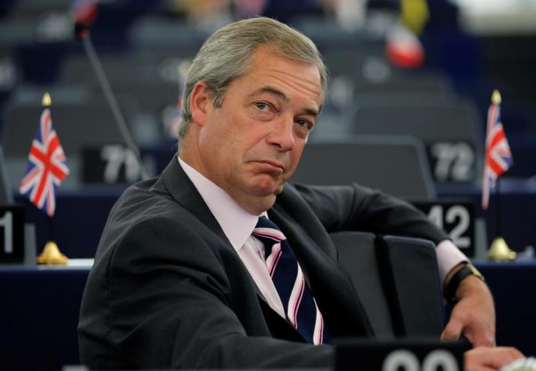Nigel Farage: As a leading Brexit campaigner and head of the UK Independence Party (UKIP) Farage stoked anti-immigrant and anti-EU sentiment to secure a ''leave'' vote.  REUTERS/Vincent Kessler