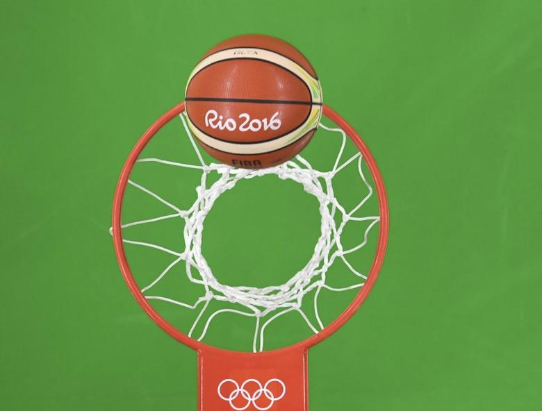 2016 Rio Olympics - Basketball - Preliminary - Men's Preliminary Round Group B Spain v Brazil - Carioca Arena 1 - Rio de Janeiro, Brazil - 09/08/2016. Olympic ball and hoop. REUTERS/Andrej Isakovic/Pool