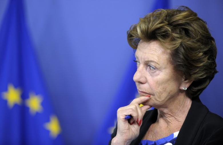 EU telecoms commissioner Neelie Kroes attends a news conference on the European Commission in Brussels September 1, 2014.      REUTERS/Laurent Dubrule