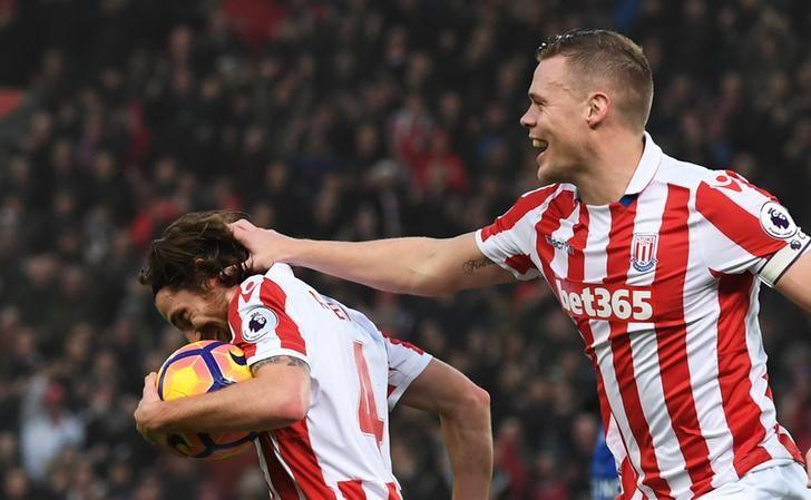 Britain Football Soccer - Stoke City v Leicester City - Premier League - bet365 Stadium - 17/12/16 Stoke City's Joe Allen scores their second goal with Ryan Shawcross  Reuters / Anthony Devlin/Livepic/Files