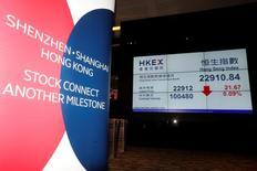 Табло с индексом  Hang Seng на фондовой бирже Гонконга. Китайский фондовый рынок завершил торги четверга без существенных изменений, поскольку укрепление акций государственных предприятий нивелировалось сохраняющейся ограниченностью ликвидных средств. REUTERS/Bobby Yip