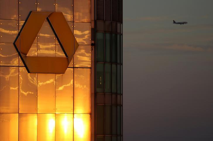 The logo of Germany's Commerzbank is seen in the late evening sun on top of its headquarters in Frankfurt, Germany, September 29, 2016. REUTERS/Kai Pfaffenbach/File Photo