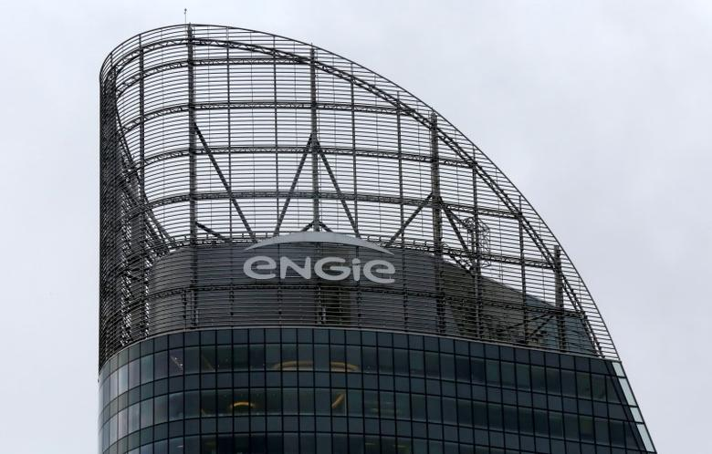 The logo of French gas and power group Engie is seen on the company tower at La Defense in Courbevoie near Paris, France, February 22, 2016.  REUTERS/Jacky Naegelen
