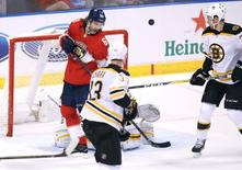 Dec 22, 2016; Sunrise, FL, USA; Florida Panthers right wing Jaromir Jagr (68) moves into sole possession of second place  with 1888 points on this assist on a goal by center Aleksander Barkov (not pictured) in the third period of a game against the Boston Bruins at BB&T Center. Mandatory Credit: Robert Mayer-USA TODAY Sports