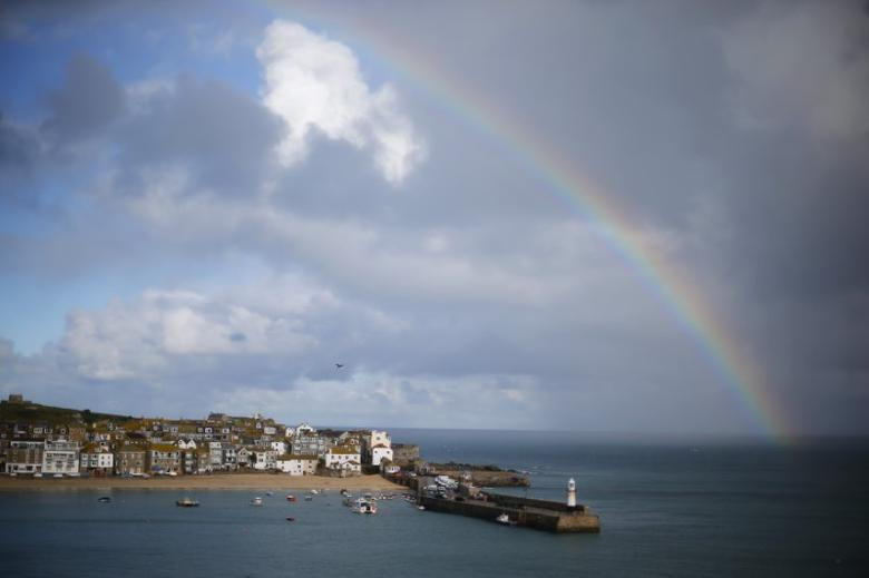 A rainbow forms as a squall moves past the harbour in St Ives in Cornwall, November 21, 2012. REUTERS/Andrew Winning