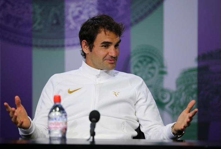 Britain Tennis - Wimbledon - All England Lawn Tennis & Croquet Club, Wimbledon, England - 8/7/16 Switzerland's Roger Federer during a press conference after losing his semi final match to Canada's Milos Raonic REUTERS/Gary Hershorn/Pool