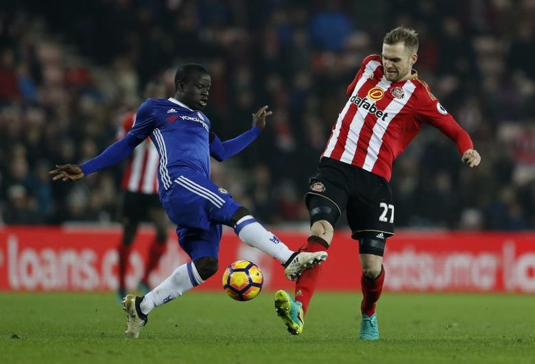 Chelsea's N'Golo Kante in action with Sunderland's Jan Kirchhoff. Sunderland v Chelsea - Premier League - The Stadium of Light - 14/12/16. Action Images via Reuters / Lee Smith Livepic