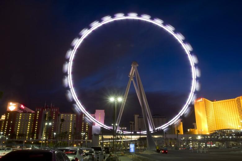 An evening view of the 550-foot-tall High Roller observation wheel after opening in Las Vegas, Nevada March 31, 2014. REUTERS/Las Vegas Sun/Steve Marcus