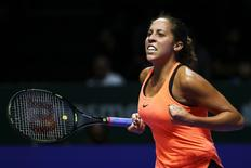 USA's Madison Keys celebrates during her round robin match Mandatory Credit: Action Images / Yong Teck Lim