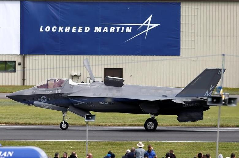 A US Marine Corps Lockheed Martin F-35B fighter jet taxis after landing at the Royal International Air Tattoo at Fairford, Britain July 8, 2016.  REUTERS/Peter Nicholls  - RTX2KDV4