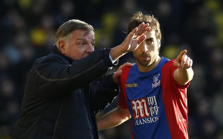 Palace manager Sam Allardyce with Crystal Palace's Mathieu Flamini. Watford v Crystal Palace - Premier League - Vicarage Road - 26/12/16 Crystal. Action Images via Reuters / Paul Childs Livepic