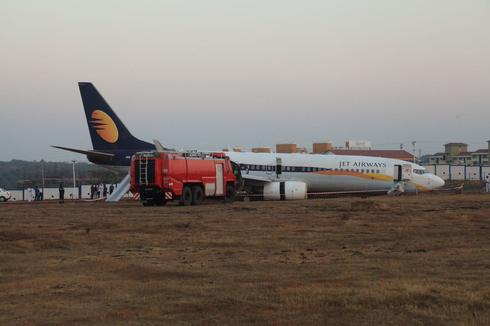 Jet Airways flight veers off runway in Goa