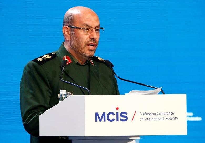 Iranian Defence Minister Hossein Dehghan delivers a speech as he attends the 5th Moscow Conference on International Security (MCIS) in Moscow, Russia, April 27, 2016. REUTERS/Sergei Karpukhin/Files