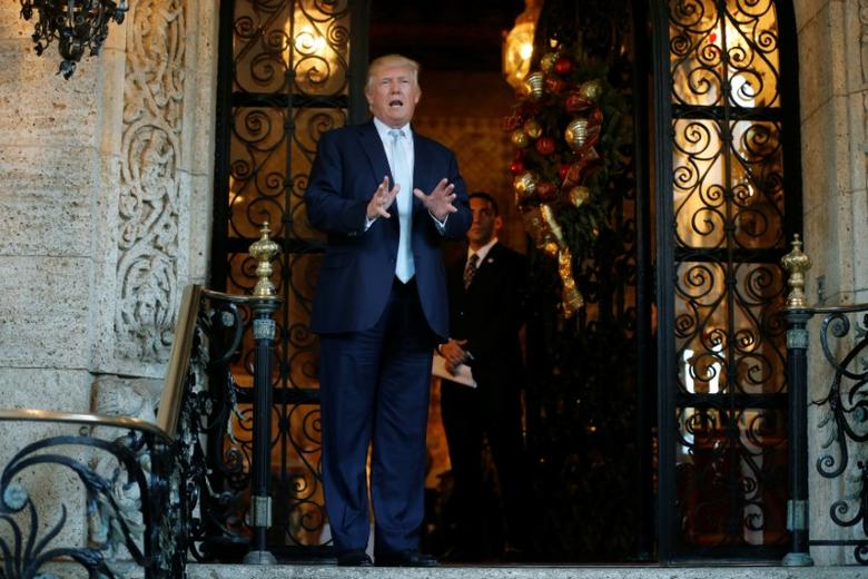 U.S. President-elect Donald Trump delivered brief remarks to reporters at the Mar-a-lago Club in Palm Beach, Florida, U.S. December 28, 2016. REUTERS/Jonathan Ernst