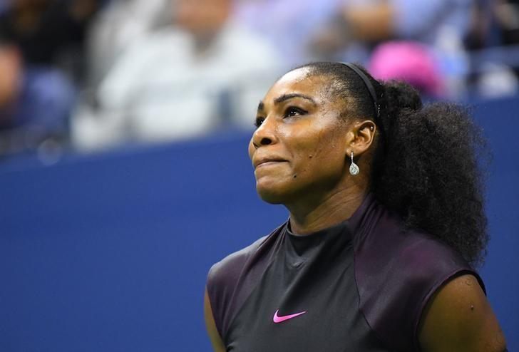 Sept 8, 2016; New York, NY, USA;  Serena Williams of the USA reacts late in the second set tie break against Karolina Pliskova of the Czech Republic on day eleven of the 2016 U.S. Open tennis tournament at USTA Billie Jean King National Tennis Center. Mandatory Credit: Robert Deutsch-USA TODAY Sports