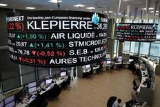L'immobilier s'inscrit comme la seule hausse sectorielle en Europe (+0,57%) à mi-séance à la Bourse de Paris. Klepierre, en tête du CAC 40, avance de 0,72% à 37,25 euros. /Photo prise le 14 décembre 14, 2016/REUTERS/Benoit Tessier