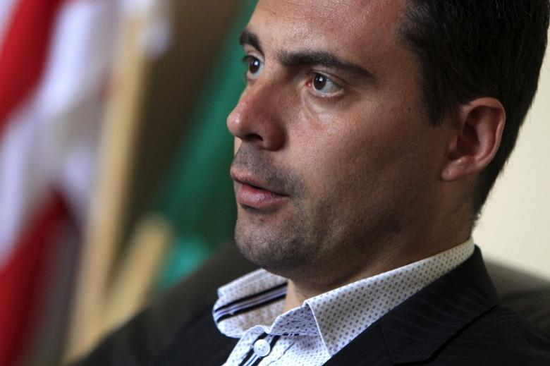 Gabor Vona, chairman of the far right Jobbik party, speaks during an interview with Reuters in Budapest, April 14, 2015.  REUTERS/Bernadett Szabo
