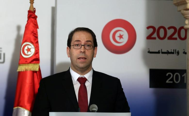Tunisia's Prime Minister Youssef Chahed speaks during a news conference with his French counterpart Manuel Valls in Tunis, Tunisia November 28, 2016. REUTERS/Zoubeir Souissi - RTSTQMN