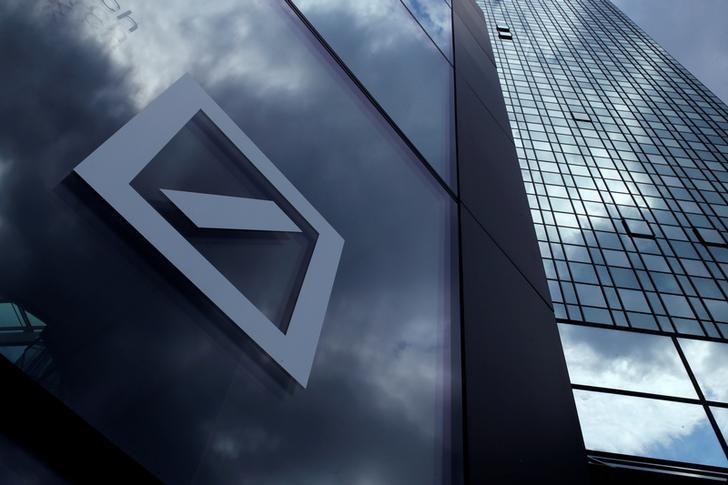 A Deutsche Bank logo adorns a wall at the company's headquarters in Frankfurt, Germany June 9, 2015. REUTERS/Ralph Orlowski/Files