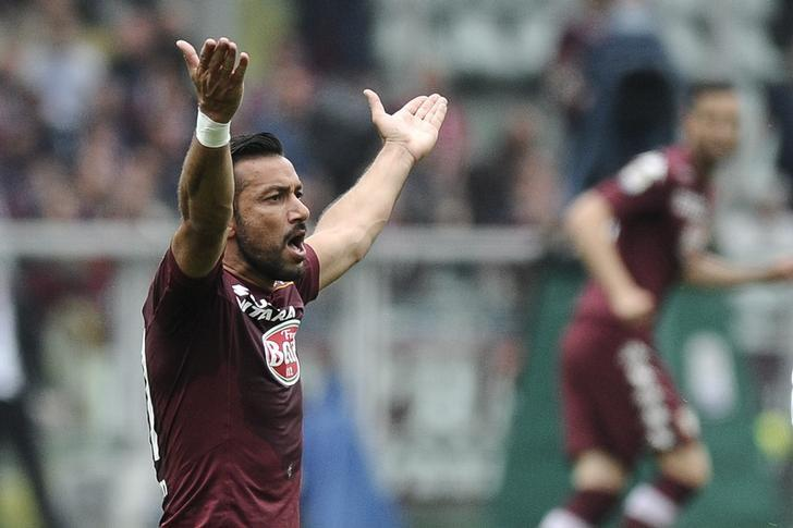Torino's Fabio Quagliarella reacts during their Italian Serie A soccer match against Juventus at Olympic Stadium in Turin, Italy April 26, 2015. REUTERS/Giorgio Perottino