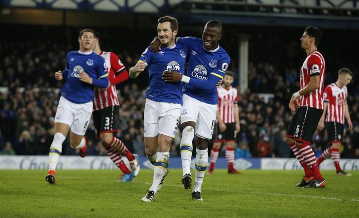 Britain Football Soccer - Everton v Southampton - Premier League - Goodison Park - 2/1/17 Everton's Leighton Baines celebrates scoring their second goal with Enner Valencia  Reuters / Andrew Yates Livepic