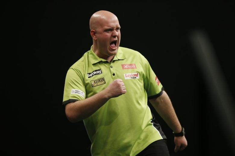 Darts - Betway Premier League Darts 2016 - Motorpoint Arena, Cardiff, Wales - 31/3/16Michael van Gerwen reacts during the matchMandatory Credit: Action Images / Peter CziborraLivepic