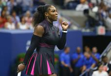 File photo: Sep 7, 2016; New York, NY, USA; Serena Williams of the United States celebrates after winning a point against Simona Halep of Romania on day ten of the 2016 U.S. Open tennis tournament at USTA Billie Jean King National Tennis Center. Mandatory Credit: Jerry Lai-USA TODAY Sports