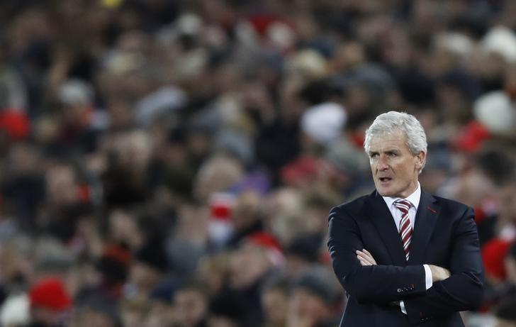 Britain Football Soccer - Liverpool v Stoke City - Premier League - Anfield - 27/12/16 Stoke City manager Mark Hughes  Action Images via Reuters / Carl Recine Livepic