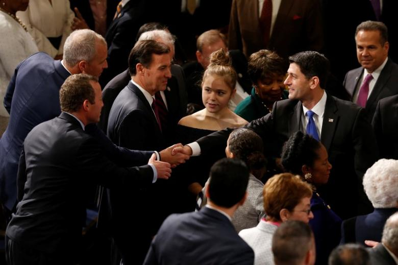 U.S. House Speaker Paul Ryan (R-WI) greets fellow House members prior to the opening session of the new Congress on Capitol Hill in Washington, U.S., January 3, 2017. REUTERS/Jonathan Ernst
