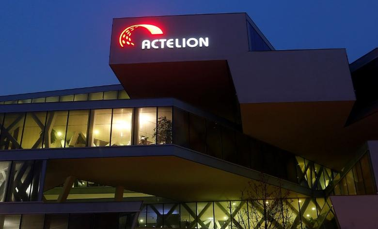 The company's logo is seen at the headquarters of Swiss biotech company Actelion in Allschwil, Switzerland December 6, 2016.    Reuters / Arnd Wiegman