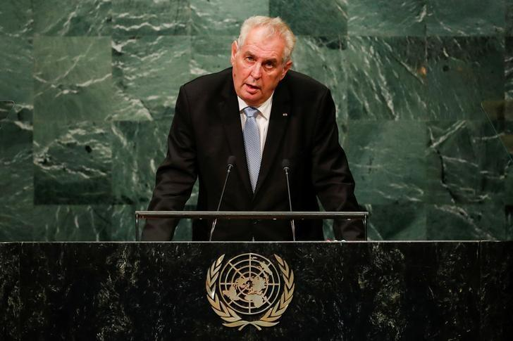 Czech Republic's President Milos Zeman addresses the United Nations General Assembly in the Manhattan borough of New York, U.S. September 21, 2016.   REUTERS/Eduardo Munoz