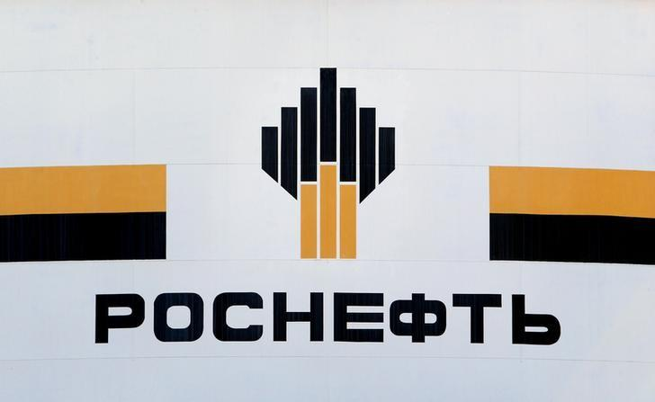 The logo of Russia's Rosneft oil company is pictured at the central processing facility of the Rosneft-owned Priobskoye oil field outside the West Siberian city of Nefteyugansk, Russia, August 4, 2016. REUTERS/Sergei Karpukhin/File Photo