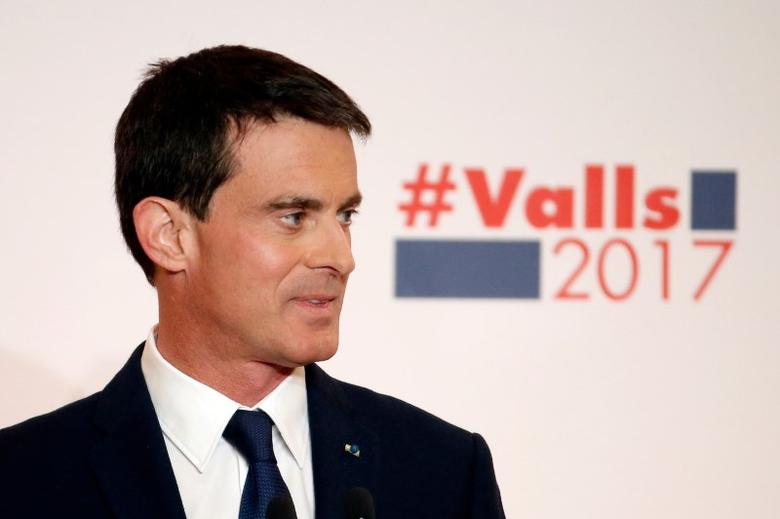 French politician and former Prime Minister Manuel Valls unveils his election platform to the media ahead of the left