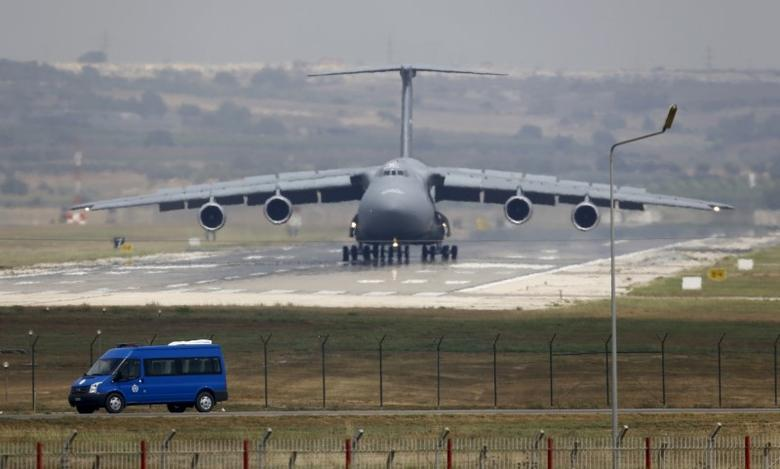 U.S. Air Force (USAF) C-5 Galaxy Outsize Cargo Transport Aircraft lands at Incirlik air base in Adana, Turkey, August 10, 2015.  REUTERS/Murad Sezer