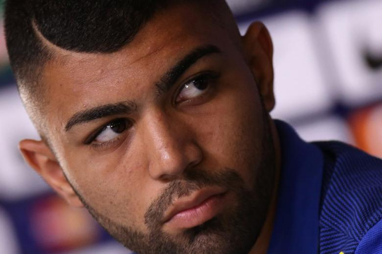 Brazil's Gabriel Barbosa during a news conference before their international friendly soccer match against Japan.     REUTERS/Ueslei Marcelino
