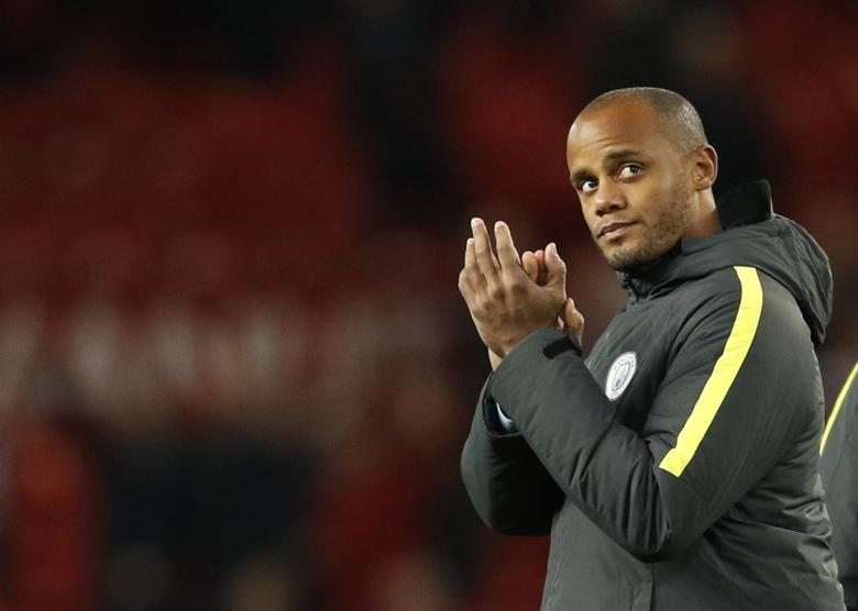 Football Soccer Britain - Manchester United v Manchester City - EFL Cup Fourth Round - Old Trafford - 26/10/16Manchester City's Vincent Kompany applauds fans after the game Reuters / Darren StaplesLivepic/Files