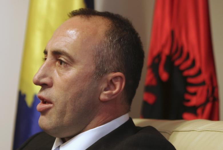 Ramush Haradinaj, a Kosovo Albanian former guerilla commander who served briefly as prime minister, speaks during an interview with Reuters at the AAK headquarters in Pristina December 4, 2012. REUTERS/Hazir Reka