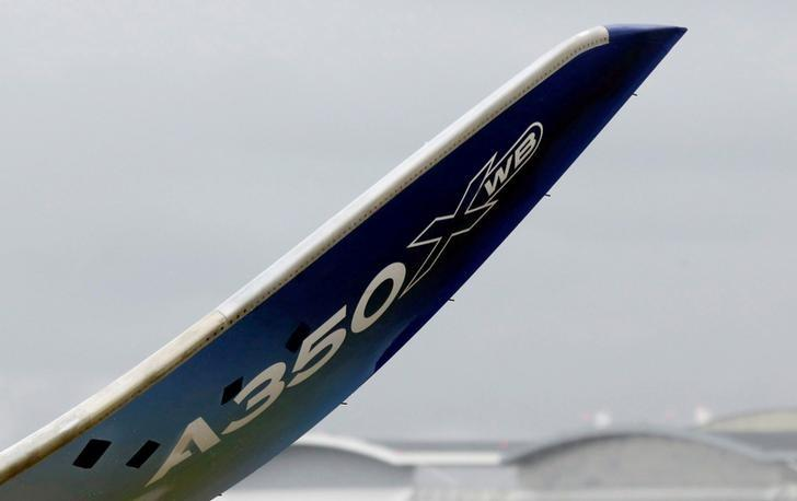 The logo of an Airbus A350 is pictured during the Airbus A350-1000 maiden flight event in Colomiers near Toulouse, France, November 24, 2016.  REUTERS/Regis Duvignau