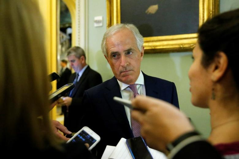 U.S. Senator Bob Corker (R-TN) talks with reporters before the weekly Republican caucus policy luncheon at the U.S. Capitol in Washington, U.S. December 6, 2016.  REUTERS/Jonathan Ernst