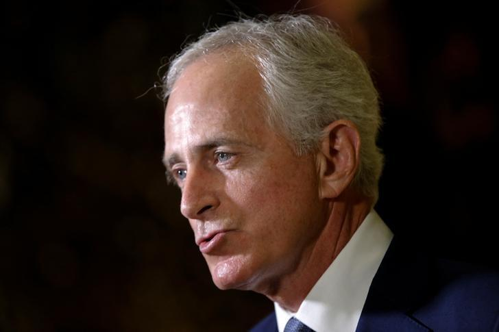 U.S. Senator Bob Corker (R-TN) speaks to members of the news media after meeting with U.S. President-elect Donald Trump at Trump Tower in New York, U.S., November 29, 2016.   REUTERS/Mike Segar/Files