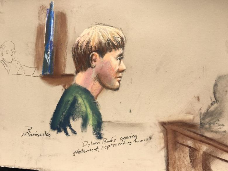 Dylann Roof, who is facing the death penalty for the hate-fueled killings of nine black churchgoers, makes his opening statement at his trial in this courtroom sketch in Charleston, South Carolina, U.S., January 4, 2017.  REUTERS/Sketch by Robert Maniscalco