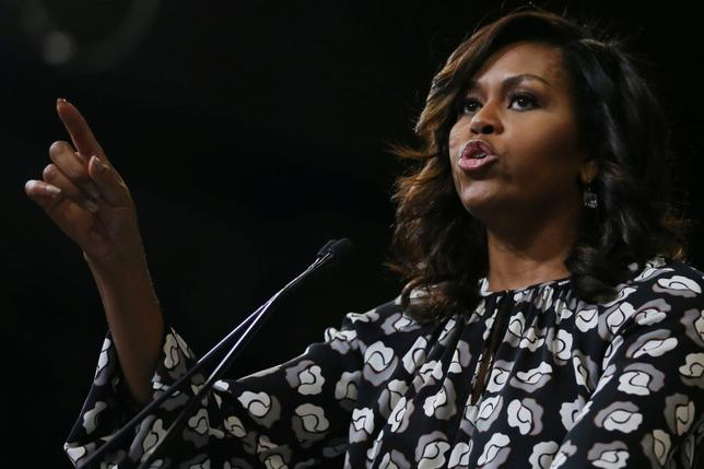U.S. first lady Michelle Obama speaks in Winston-Salem, North Carolina, U.S., October 27, 2016. REUTERS/Carlos Barria